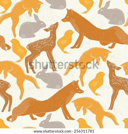 Spring seamless pattern with animals - stock vector