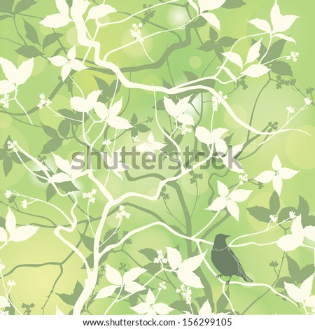 Spring seamless pattern with branch and bird. Floral repeating background in chinese style. Vector illustration. - stock vector