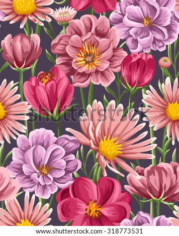Spring seamless pattern with bright tulip, peonies, chamomiles in watercolor style on dark  background. - stock vector