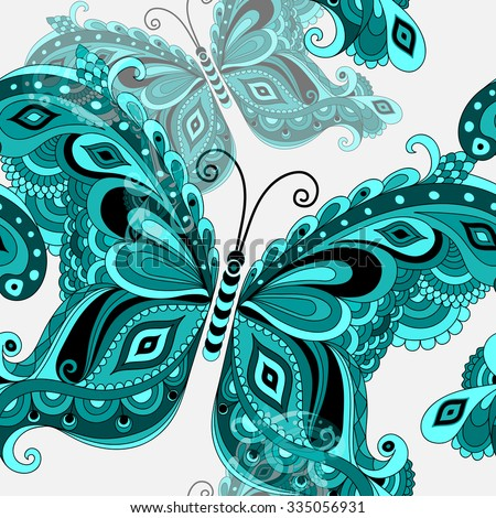 Spring seamless white pattern with turquoise vintage butterflies. Vector eps 10 - stock vector