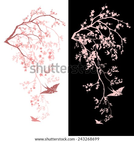 spring season blossom decorative design - blooming sakura branches vector design - stock vector