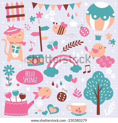 spring season clip art elements - stock vector