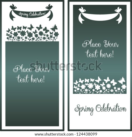 Spring Season editable Greeting card with floral elements, butterflies and birds holding ribbon - can be used for Easter holidays, wedding, baby shower, anniversary or other occasion
