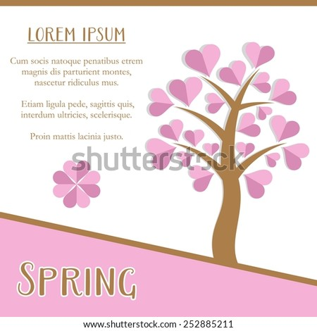 Spring season greeting card design with pink tree - stock vector