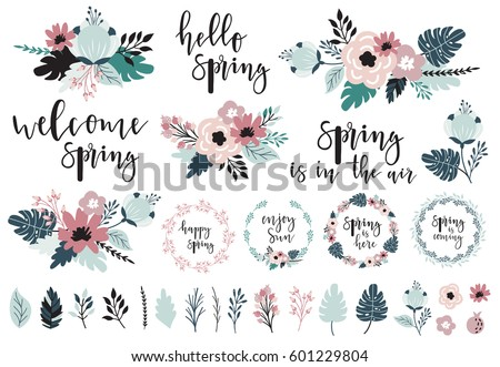 Spring Set Hand Drawn Elements
