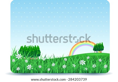 Spring signboard with copy space and meadow, vector illustration  - stock vector