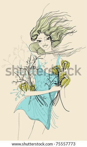 Spring sketch with beautiful happy girl and flowers - stock vector
