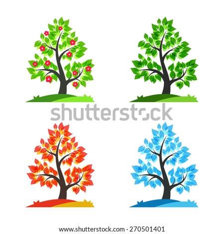 Spring, summer, autumn and winter tree - vector illustration - stock vector