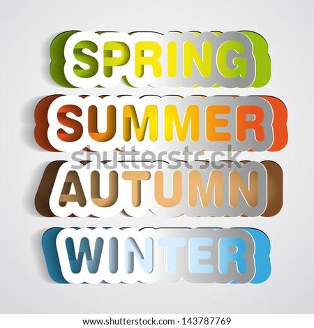 Spring, Summer, Autumn, Winter paper sign - vector symbol sticker - stock vector