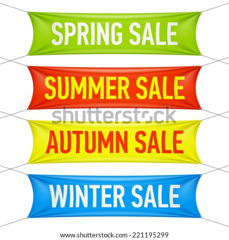 Spring, summer, autumn, winter sale banners. Vector. - stock vector