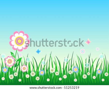 Spring-Summer background, all parts closed, editing is possible, floral background - stock vector