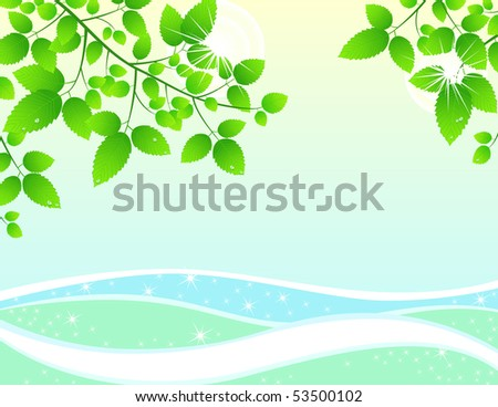 Spring-Summer background, leafs and water. Vector illustrations. - stock vector