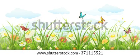 Spring summer banner with green grass, flowers and butterflies - stock vector