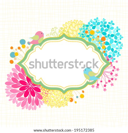 Spring Summer Colorful Flower Bird Garden Party Invitation - stock vector