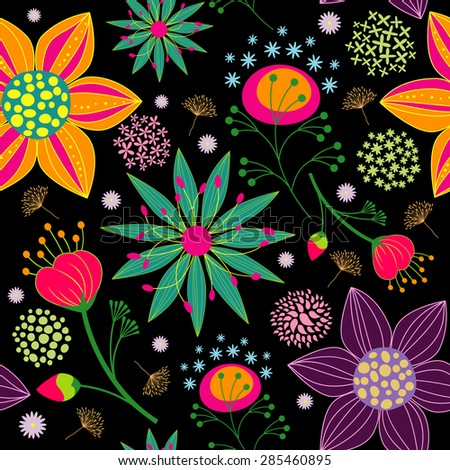 Spring Summer Colorful Flower Seamless Pattern Background - stock vector