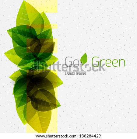 Spring / summer green leaves nature background / abstract design template