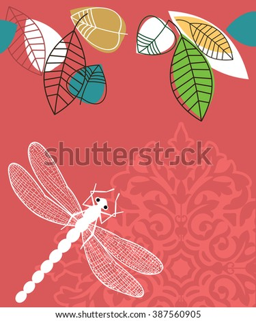 Spring summer  leaves and dragonfly  - stock vector