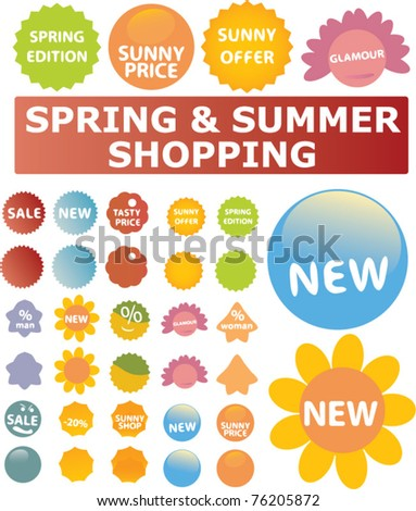 spring & summer shopping icons, signs, vector illustrations - stock vector