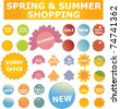 spring & summer shopping stickers & labels, vector - stock vector