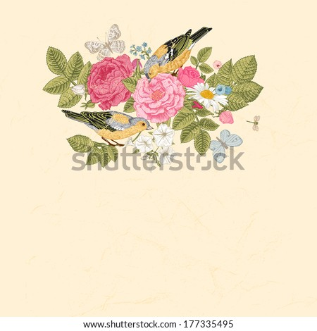 Spring summer vector vintage card in Victorian style. Composition of colorful flowers on a beige background. Roses, birds, butterflies. Design element. - stock vector
