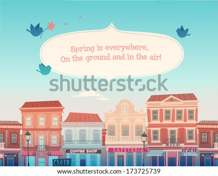 Spring sunny town. Vector illustration. - stock vector