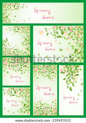 Spring templates with apple-tree - stock vector