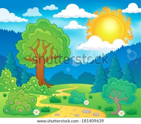 Spring theme landscape 5 - eps10 vector illustration. - stock vector