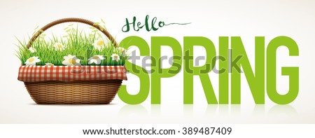 Spring themed poster template. Vector illustration of realistic wicker basket. Grass and daisy flowers in wicker basket. Elements are layered separately in vector file. - stock vector