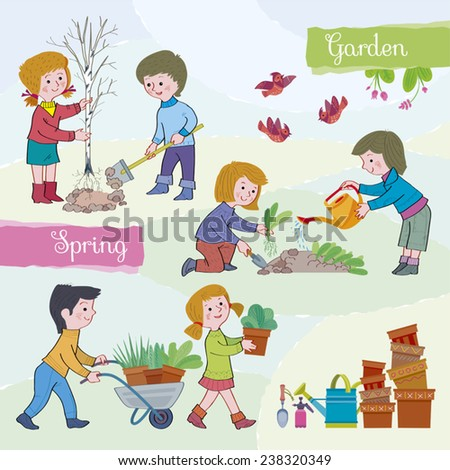 Spring tide-garden.Children (boys and girls) in the spring in a garden.Children plant a tree and flowers,water a garden-bed.Boy carries a wheelbarrow with a flower.Illustration done in cartoon style. - stock vector