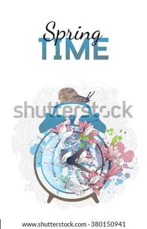 Spring time. Alarm clock with magnolia flower. Watercolor vector background - stock vector