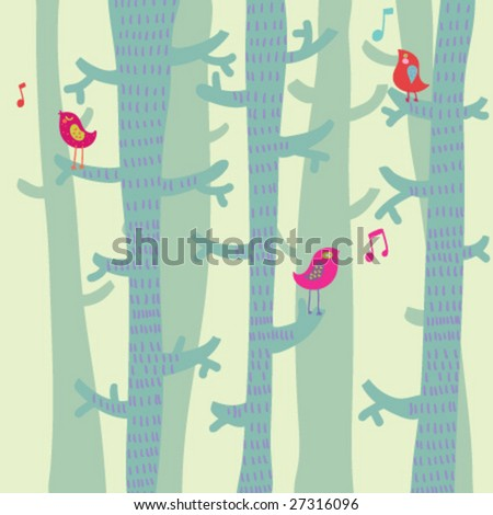 Spring time background in vector - stock vector