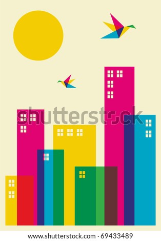 Spring time in the city. Full color humming birds flying over the city. Vector file available. - stock vector