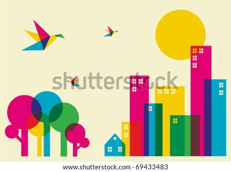 Spring time in the city. Full color humming birds flying over the forest and city. Vector file available. - stock vector