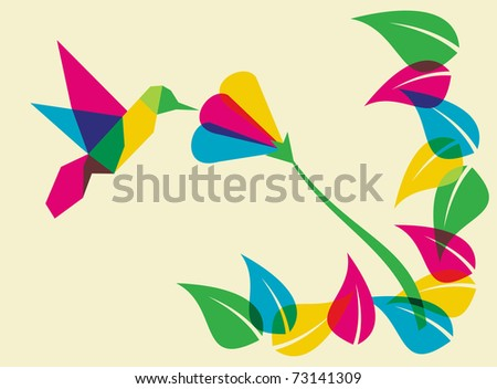 Spring time: multicolored humming bird. Vector file available. - stock vector