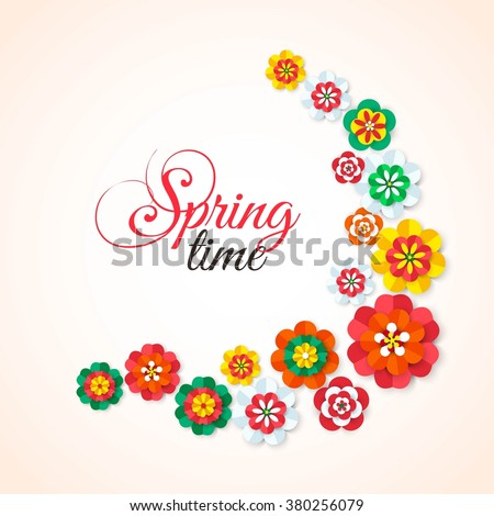 Spring Time. Spring multicolored cutout paper flowers. Spring Flowers Background. Spring Vector Flowers. Spring Flowers Banner. Flowers Isolated. Floral Design Element. Vector Illustration. - stock vector