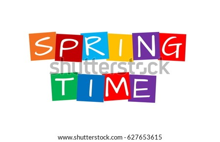 spring time, text in colorful rotated squares