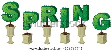 Spring Topiary Word EPS 8 vector, no open shapes or paths, grouped for easy editing. - stock vector