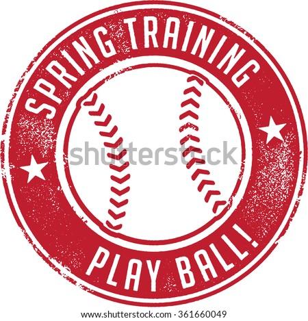 Spring Training Baseball Sport Stamp - stock vector