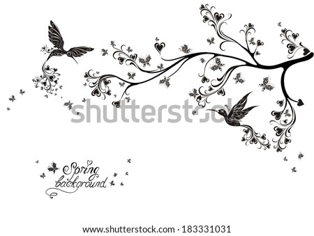 Spring tree and flying birds. Vector illustration - stock vector