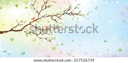 Spring tree background. Nature background for your design with place for your text on the right. Vector illustration. - stock vector