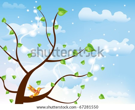 spring tree blue sky bird vector brown green - stock vector