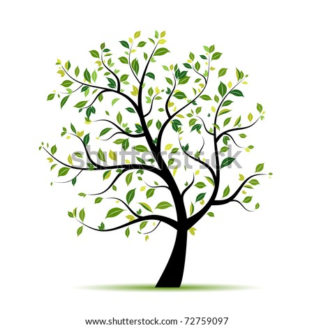 Spring tree green for your design - stock vector