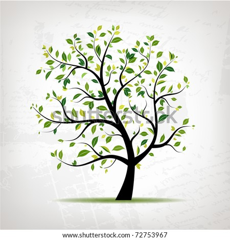 Spring tree green on grunge background for your design - stock vector