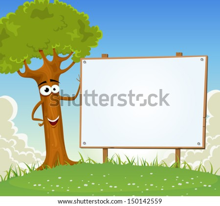 Spring Tree Holding Blank Billboard/ Illustration of a funny cartoon summer or spring happy tree character, holding wooden blank empty billboard with clouds and landscape background - stock vector