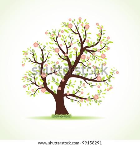 Spring tree. Vector illustration - stock vector