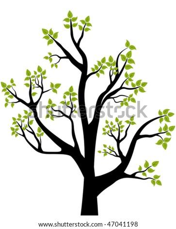 Spring Tree, vector illustration, element for design, card or emblem - stock vector