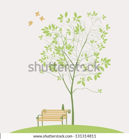 Spring tree with bench bird and cat - stock vector