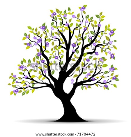spring tree with flowers over a white background - vector illustration