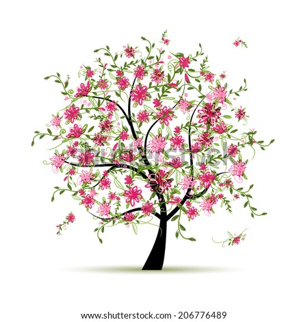 Spring tree with roses for your design - stock vector