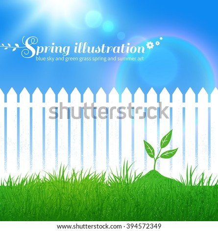 Spring vector background with growing sprout,  garden white fence and blue sky with sunbeams. - stock vector